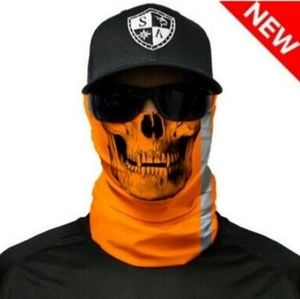 Reflective orange skull Tubular Bandana